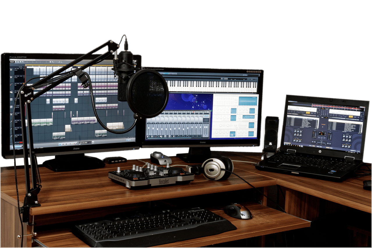 voice-over microphone and computer home studio set up